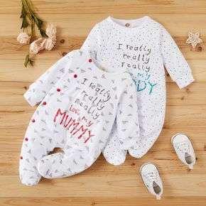 Letter Dots Triangle Print Footed/footie Long-sleeve Baby Jumpsuit