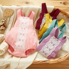 Baby Girl 100% Cotton Lace Decor Strappy Sleeveless Solid Romper