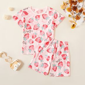 Kids Girl Strawberry Allover Print Tee and Shorts Set