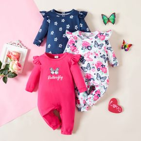 1pc Baby Girl Long-sleeve Ruffled Butterfly Floral Print Jumpsuit