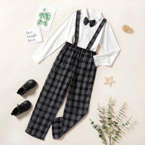 3-piece Kid Boy White Shirt, Plaid Overalls and Bow tie Party Suits