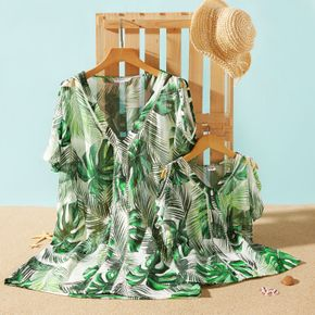 Green Leaves Print Sleeveless Matching Cover Up