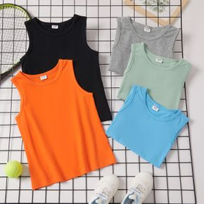 Basic Solid Athleisure Tank Top for Toddlers and Kids