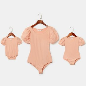 Solid Color Puff-sleeve Matching Pink Rompers