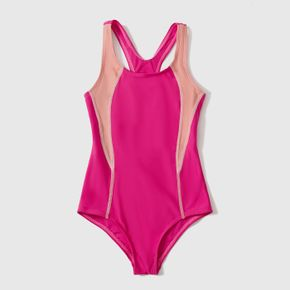 Color Block Tank One-piece Activewear Swimsuit for Toddlers / Kids