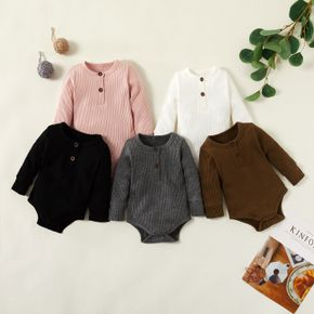 Ribbed Solid Front Button Long-sleeve Baby Romper