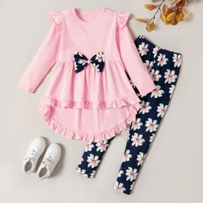2-piece Kid Girl Bowknot Ruffled Long-sleeves Tee and Flower Allover Print  Pants
