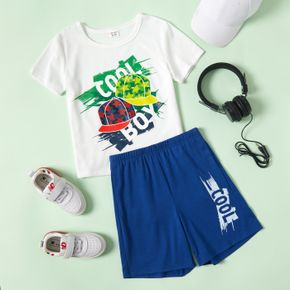2-piece Kid Boy Hat Letter Print Casual T-shirt and Elasticized Shorts Casual Set