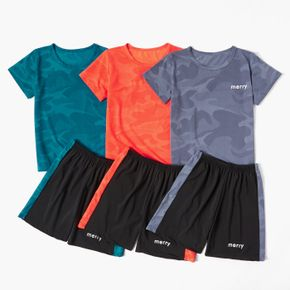 Multi-color Camouflage Tee and Shorts Athleisure Set for Kids