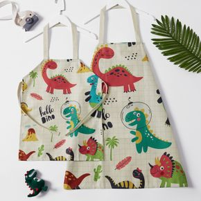 Cute Dinosaur Print Linen Aprons for Mommy and Me