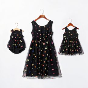 Mesh Floral Print Black Tank Midi Dresses for Mommy and Me