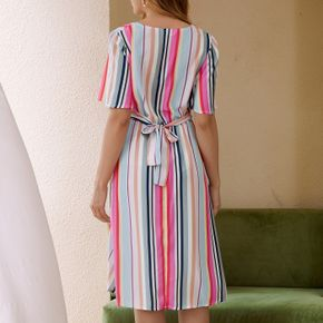 Maternity casual Stripes Print Round collar A Short-sleeve Dress