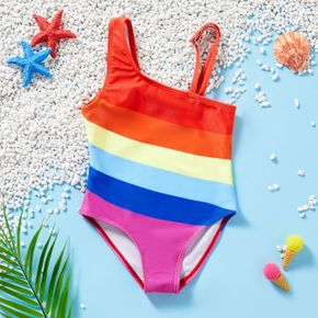1pc Toddler Girl Rainbow One-piece Swimsuit