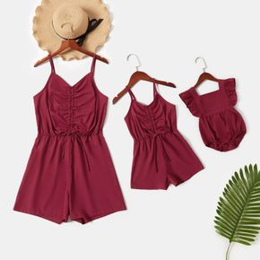 Solid Wine Red Sling Rompers for Mommy and Me - Ruffle Baby Rompers