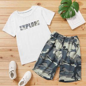 Fashionable Kid Boy Camouflage & Letter Print Casual Set