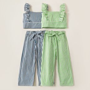Kids Girl Striped Ruffled Top and Strappy Pants Set