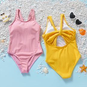 Pretty Kid Girl Solid Color Swimsuit