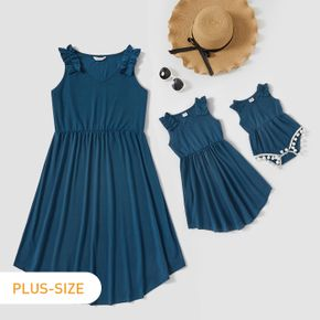 Solid Color Matching Navy Midi Tank Dresses