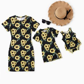 Sunflower Pattern Print Skinny Mini Dresses for Mommy and Me