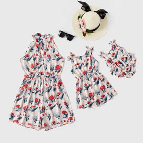 Floral Print Sleeveless Halter Neck Romper Shorts for Mom and Me