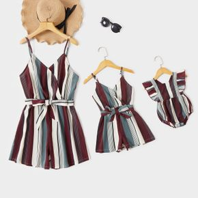 Stripe Print Sling Short Rompers with Belt for Mommy and Me