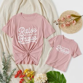 Letter Print Pink Short Sleeve T-shirts for Mom and Me
