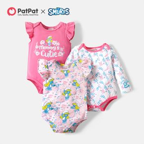 Smurfs Baby Girl Floral and Flounce Cotton Bodysuit