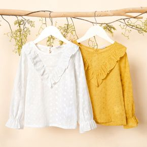 Toddler Girl 100% Cotton Ruffled Long-sleeve Solid Blouse Top