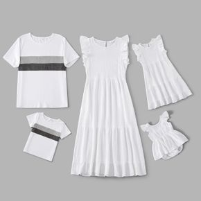 100% Cotton Solid White Family Matching Sets