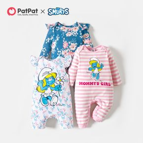 Smurfs Baby Girl Floral and Stripe Cotton Jumpsuit