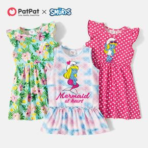 Smurfs Toddler Girl Floral Polka Dots and Mermaid Cotton Dress