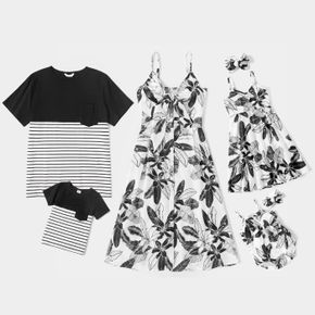 Mosaic Floral Print Family Matching Black and White Sets