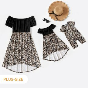 Leopard Splicing Short Sleeve Strapless Dress Romper for Mommy and Me