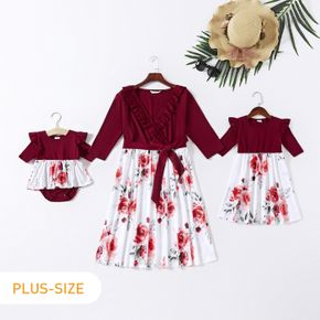 Solid Splice Allover Plant Print Three-quarter Length sleeve Matching Plus Size Dresses