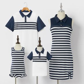 Mosaic Stripe Print Family Matching Navy Blue and White/Pink/Army green Sets