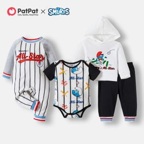 Smurfs Baby Boy Stripe Cotton Romper and Hoodie and Pants Set