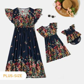 Floral Print Ruffle Sleeve Dress Romper for Mommy and Me
