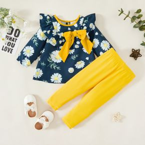 2pcs Baby Girl Daisy Floral Print Ruffle Bowknot Long-sleeve Top and Yellow Trouser Set
