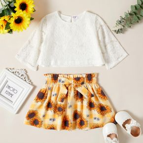 2-piece Toddler Girl Lace Design White Blouse and Floral Print Paperbag Skirt Set