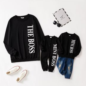 Letter Print Black Long Sleeve Sweatshirts and Jumpsuits for Dad and Me