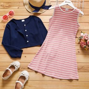 2-piece Kid Girl Striped Sleeveless Dress and Button Design Solid Cardigan Set