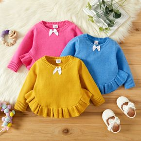 Baby Girl Solid Round Neck Long-sleeve Ruffle Hem Knitted Sweater Pullover