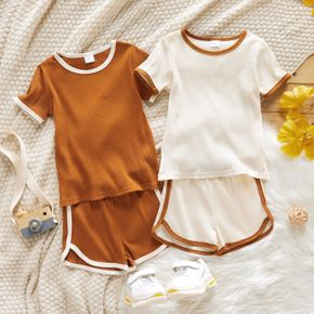 2-piece Toddler Girl/Boy Casual T-shirt and Bows Stripe Shorts Set
