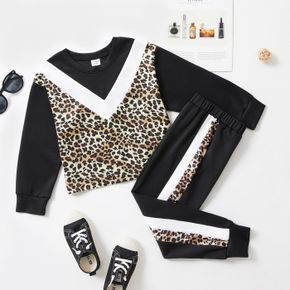 2-piece Kid Girl Leopard Print Colorblock Long-sleeve Top and Elasticized Pants Casual Set