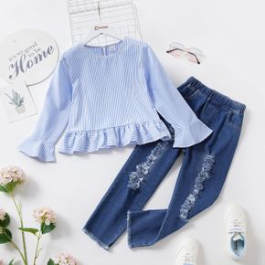 2-piece Kid Girl Striped Bell sleeves Ruffle Hem Blouse and Ribbed Denim Jeans Set