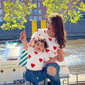 Love Print Short Sleeve T-shirts for Mommy and Me