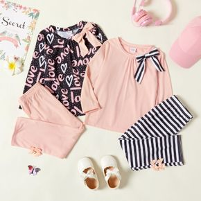 2-piece Toddler Girl Bowknot Design Polka dots Letter Print/Solid Long-sleeve Top and Solid/Stripe Leggings Set