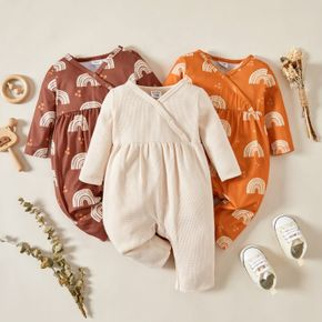 Baby Girl Solid/Rainbow Print Long-sleeve V-neck Jumpsuit