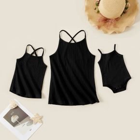 Mosaic Solid Cross Straps Matching Camisole Top