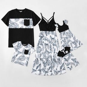 Family Matching Splicing Leaves Print Dresses and Short-sleeve T-shirts Sets